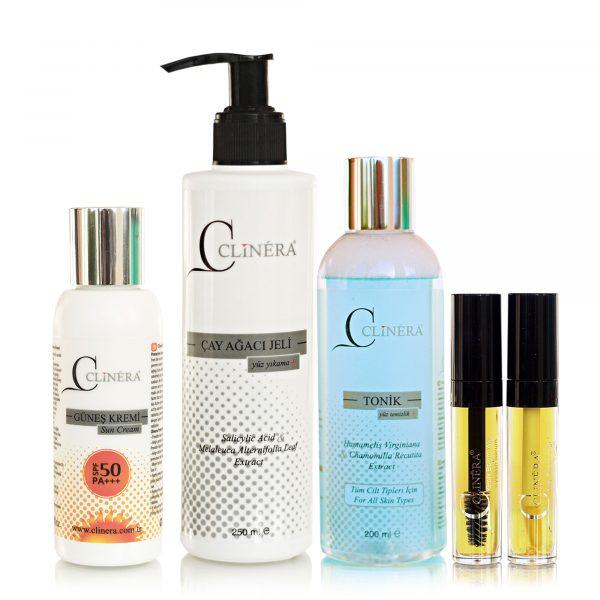 Clinera Güneş Koruyucu + Yüz Temizleme Jeli + Yüz ve Akne Temizleme Toniği + Kaş ve Kirpik Serumu