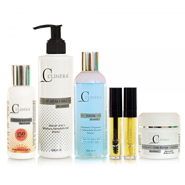 Clinera Güneş Koruyucu + Yüz Temizleme Jeli + Yüz ve Akne Temizleme Toniği + Kaş ve Kirpik Serumu + Leke Kremi