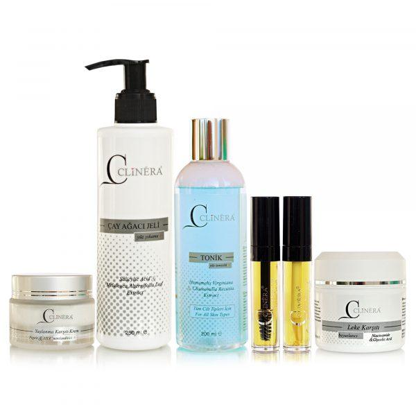 Clinera Anti-Aging Krem + Yüz Temizleme Jeli + Yüz ve Akne Temizleme Toniği + Kaş ve Kirpik Serumu+ Leke Kremi